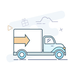 Delivery truck vector line illustration.