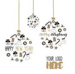 New Year and Merry Christmas ball. Gold, white, black design. Vector illustrations. Hand draw concept.