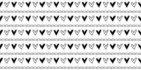 Seamless vector pattern Black and white geometrical background with hand drawn little decorative elements.Simple design. Graphic vector illustration. Template for wrapping, background, wallpaper