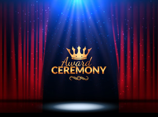 Award ceremony design template. Award event with red curtains. Performance premiere ceremony design