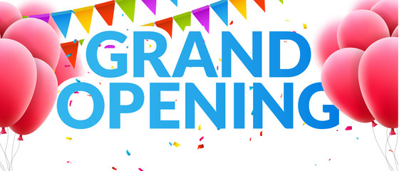 Grand Opening event invitation banner with balloons and confetti. Grand Opening poster template design Wall mural