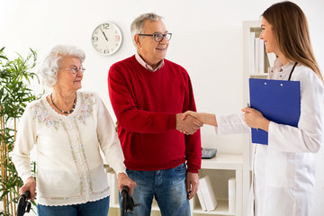 Senior couple visit doctor about medic consultation