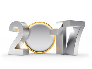 2017 New Year silver numbers and empty coin or medal on white background. 3D illustration