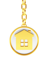 Round golden key chain with house icon isolated on white background. 3D illustration