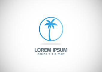 palm tree tropic vector logo
