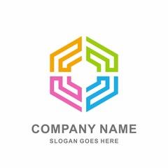 Circular Geometric Hexagon Tessellate Strips Pattern Interior Decoration Business Company Stock Vector Logo Design Template
