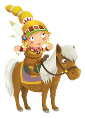 Cartoon indian woman on horse - isolated - illustration for children