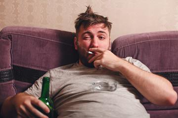 Alcohol addicted man in depression.
