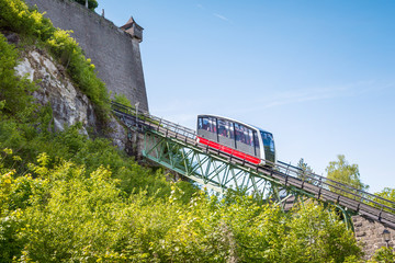 Cable railway, fortress funicular to the Hohensalzburg castle, S