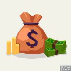 Bag money Stack coins cash banknotes cartoon vector illustration