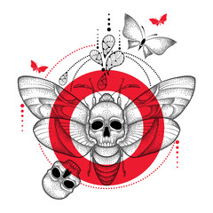 Vector drawing of dotted black Death's head hawk moth or Acherontia atropos, red round and skull isolated on white background. Illustration of butterfly with skull in dotwork style for tattoo design.