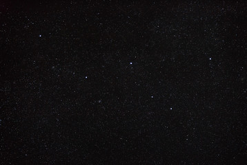 Night sky with stars and the constellation Cassiopeia. North hem