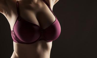 Large and beautiful women breasts in purple bra