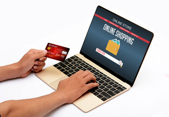 Professional Online Shopping with Credit Card in hand