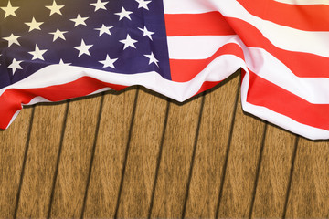 Flag United States of America on wooden background