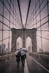 Rainy Morning on the Brooklyn Bridge - New York City
