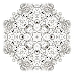 Mandala. Zentangl round ornament. Relax, meditation, coloring