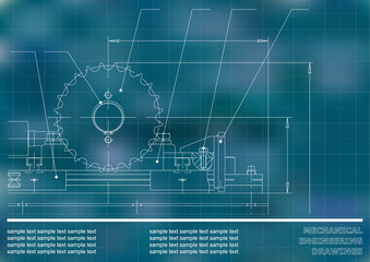 Mechanical drawings on a blue and white background. Engineering illustration. Vector