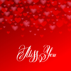 miss you inscription hand lettering on red heart shape backgroun