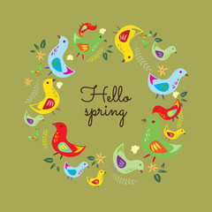 Hello Spring. Hand drawn poster with  round bird frame.
