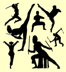 Martial art and self defense silhouette. Good use for symbol, logo, web icon, mascot, sign, sticker or any design you want