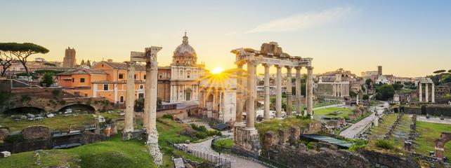 Roman Forum in Rome, Italy during sunrise.