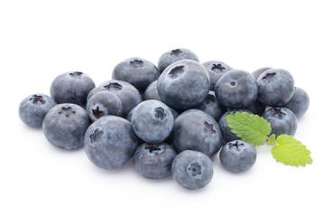 Group of fresh juisy blueberries isolated on white background.