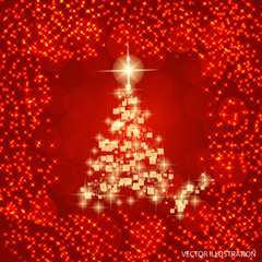 Abstract background with christmas tree and stars. Vector illustration in red and white colors.