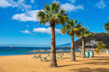 Photo sur Aluminium Iles Canaries Amazing view of beach las Teresitas, Tenerife, Canary Islands