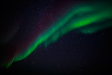 Green northern lights and a starlight sky over Nuuk city, Greenl