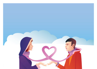 Romantic couple, love, relationship and dating concept. Man gives womana gift
