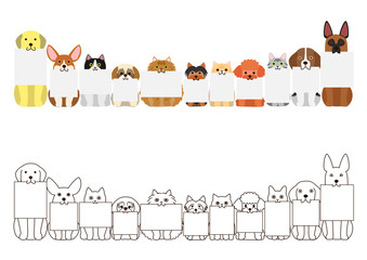 cats and dogs border set, with small blank board in each mouth
