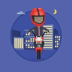Man riding motorbike at night vector illustration