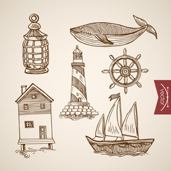 Engraving hand vector lighthouse on sea boat ship water house