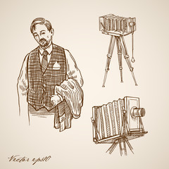 Engraving hand vector old-fashioned dressed photographer camera