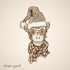 Engraving hand vector monkey in Santa Claus hat
