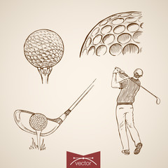 Engraving hand vector golf player hitting ball, sport