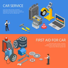 Worker tool spare first car aid service 3d flat isometric vector