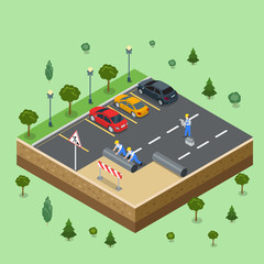 Workers laying asphalt on parking 3d flat isometric vector .