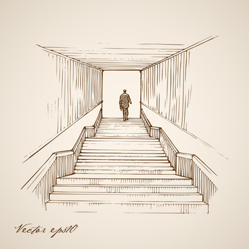 Engraving hand vector man going up stairs underground tunnel