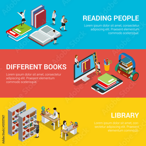 Reading people different book library 3d flat isometric vector