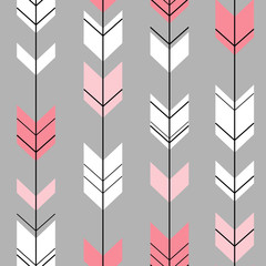 pastel arrow ethnic hipster pink and white on a gray background