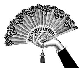 Female hand with open fan