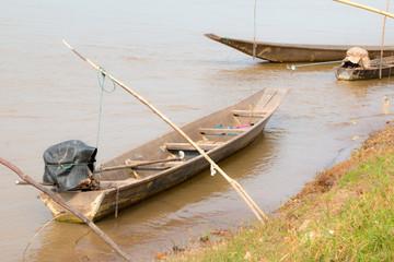 fishing boats. River khong nature landscape.