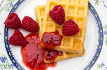 waffles with raspberries