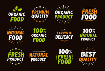 Set of logos, labels, stamps, icons for natural product, organic food, farm. Elements  packaging. Vector illustration