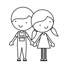 cute little couple characters vector illustration design