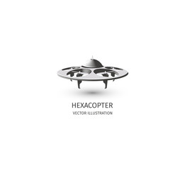 Isolated rc drone logo on white. UAV technology logotype. Unmanned aerial vehicle icon. Remote control device sign. Surveillance vision multirotor. Vector hexacopter illustration.