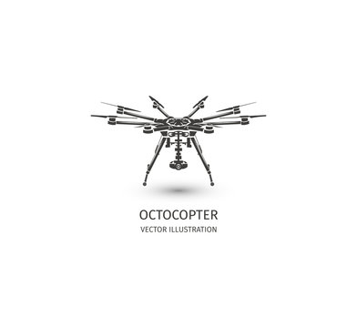 Isolated rc drone logo on white. UAV technology logotype. Unmanned aerial vehicle icon. Remote control device sign. Surveillance vision multirotor. Vector octocopter illustration.