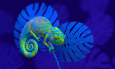 Bright green chameleon, 3d rendering